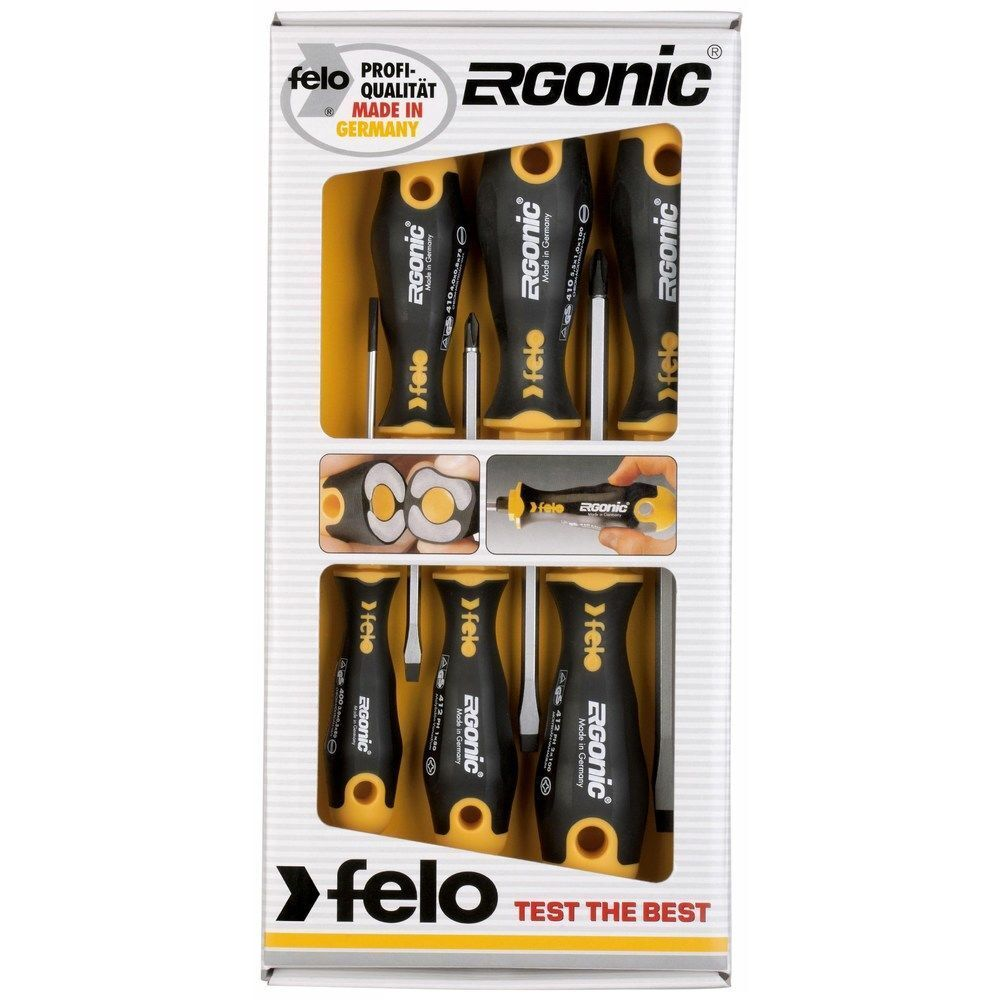 Felo ERGONIC SCREWDRIVER SET 6Pieces Phillips & Flat Head German Made