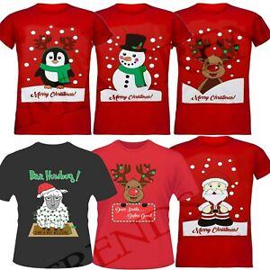 Unisex-para-Hombre-Mujer-Santa-Pinguino-Muneco-de-Nieve-Reno-Camisetas-Camiseta-Top-De-Navidad