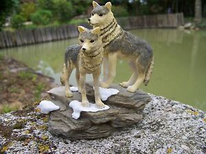 Mo0045 Figurine Statuette Famille Loup Sur Rocher Animal Sauvage Uoq5khys-07224954-480779684