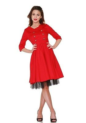 H & R London Dress Mod 60's Kennedy Red Crest Button Pinup 9056