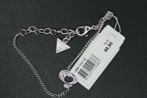 GUESS Damen Armband UBB71527-s Armkette G Herz Besatz weiß silberfarben NEU