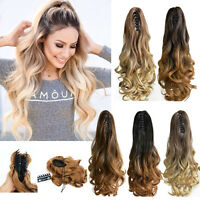 "New Women 22"" Claw On Dip Dye Ombre Wrap Around Ponytail Clip in Hair Extensions"