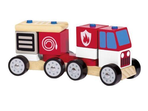 tracteur fire engine Playtive junior en bois empilable train