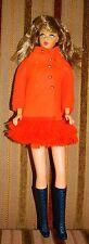 Vntg Light Brunette Twist 'N Turn Barbie Doll  Fiery Felt Coat+Mod Boots Japan