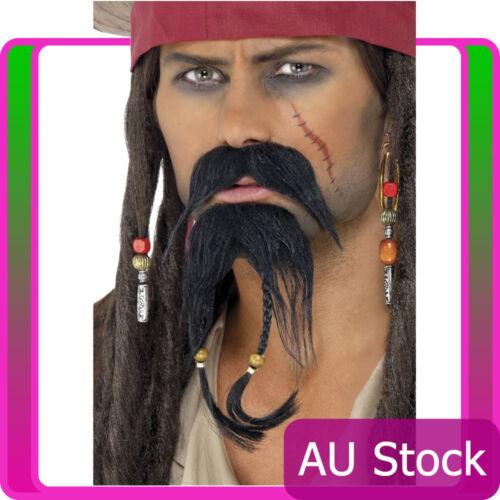 Pirate Beard Moustache Facial Hair Set Caribbean Jack Sparrow Costume Accessory