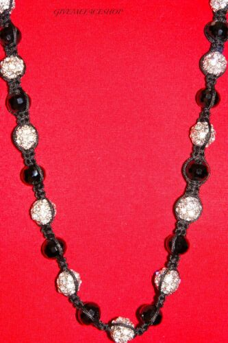 EXCLUSIVE SILVER DISCO BALLS NECKLACE FULL BLING MACRAME CHAIN ICED DISCO BALL