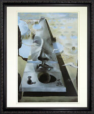 Apparition of the Face of Aphrodite by Salvador Dali. Framed Poster in Dark Wood