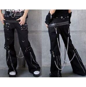 Para Mujeres Gotico Bondage Pantalon Rock Duro Pantalones Pantalon De Peso Pesado Emo Pantalones De Tripp Ebay