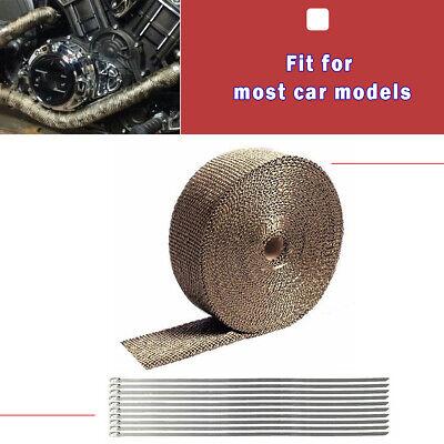 "2 Roll 2/"" 50FT Fiberglass Exhaust Header Pipe Heat Wrap Tape Titanium Ties Kit"
