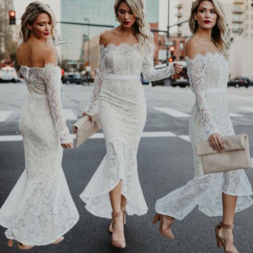 Femmes Off épaule sirène formelle robes de soirée longues en dentelle Parti Prom robe de bal