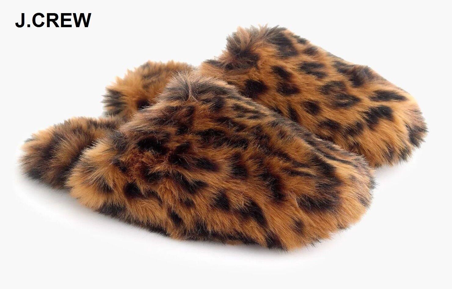 New J.CREW leopard slippers brown black furry fuzzy animal print hair faux fur L