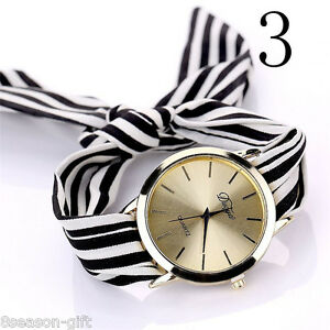 Details about HX Girl Stripe Bracelet Watches Fashion Casual Gold Case  Quartz Wrist Watch