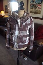 ROXY WINTER SNOWBOARD GIRL WOMEN JUNIOR COAT JACKET PLAID BROWN WHITE SMALL NEW
