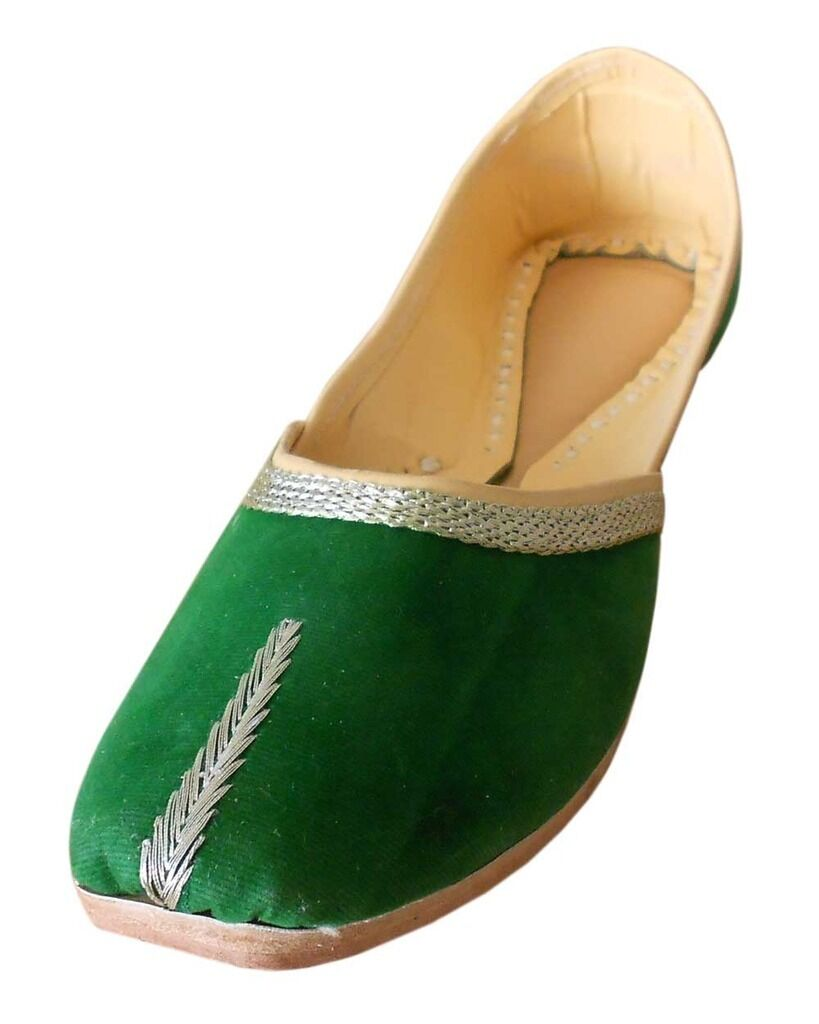 Traditional Flats Handmade Women Shoes Leather Ballet Flats Traditional Indian Mojari US 6-11 c46412