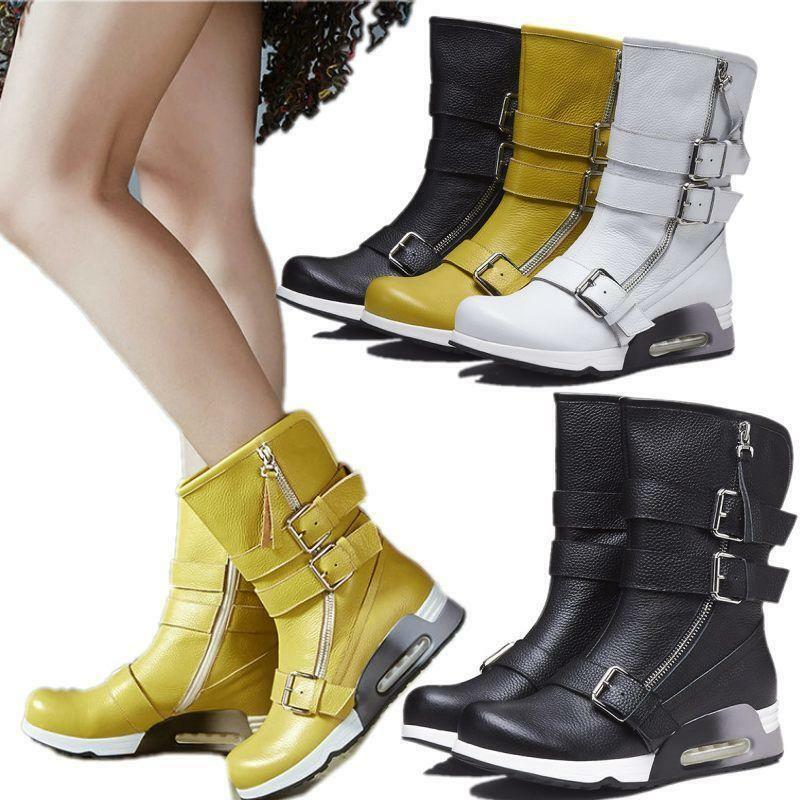 Women's Military Genuine Leather Ankle Boots Hiking Motorcycle Combat Sneaker Sz