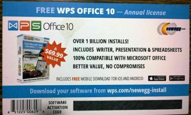 WPS Office 10 Software 1 PC 1 Year Activation KeyCard