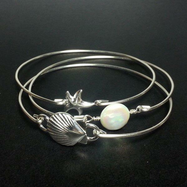 Beach Bangle Bracelet Set - 925 Sterling Silver Scallop Shell Pearl Starfish NEW