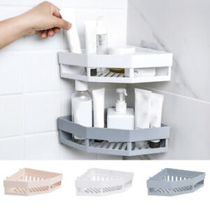 Corner Storage Holder Shelves Snap Up Wall Holder Bathroom Handy mounting 1//3PCS