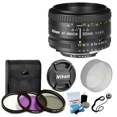 NEW Nikon 50mm f/1.8D AF Nikkor Autofocus Lens + 3 Piece Filter Set Complete Kit