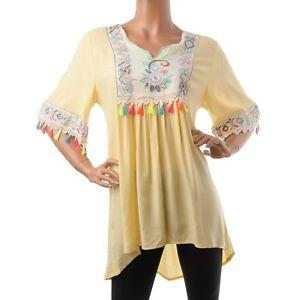 21f86e354db7 Das Bild wird geladen Tunika-Ibiza -Style-Bluse-Blogger-Baumwolle-Quasten-gelb-