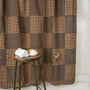 Image Is Loading FARMHOUSE STAR Shower Curtain Black Khaki Patchwork Block