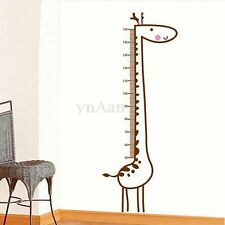 Removable Giraffe Wall Sticker Kids Growth Chart Height Mark Measure Home Decor
