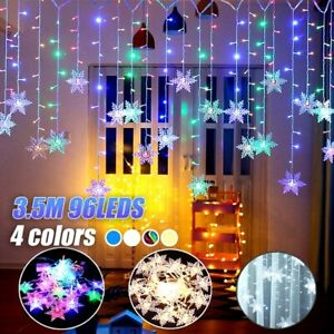 96-LED-Luz-De-Ventana-copo-de-nieve-Hada-Cortina-De-Cuerda-Navidad-Boda-Fiesta-Decoracion