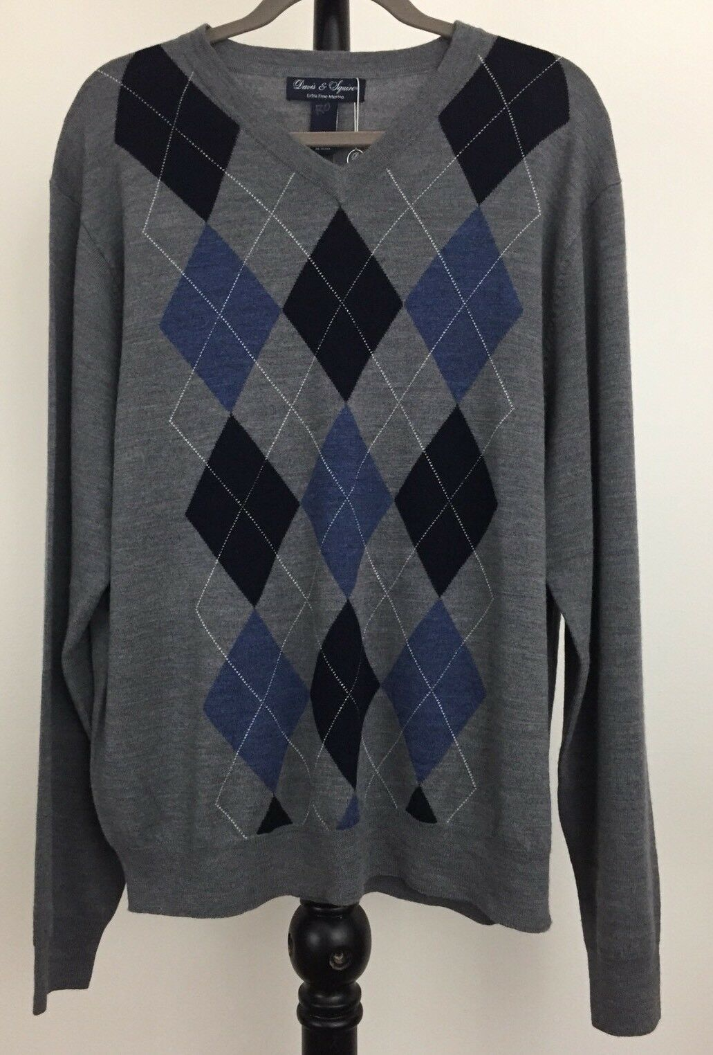 New Davis & Squire Größe XL extra fine Merino Wool argyle sweater NWT