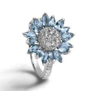 925 Sterling Silver with White Sapphire//Light Blue and CZ Flower Ring
