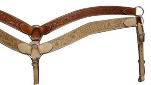 Showman Contoured Leather Breast Collar W// Floral /& Basketweave Tooling NEW TACK
