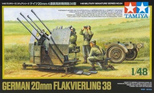 Tamiya 1//48 Scale German 20mm Flakvierling 38 Plastic Model Kit 32554 TAM32554