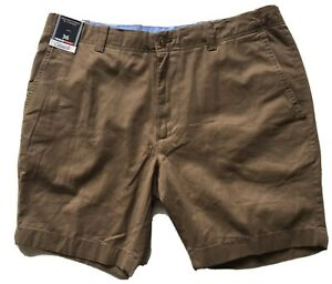 Roundtree-amp-Yorke-Casuals-Men-s-Brown-Flat-Front-Shorts-NWT-Size-36-Inseam-8