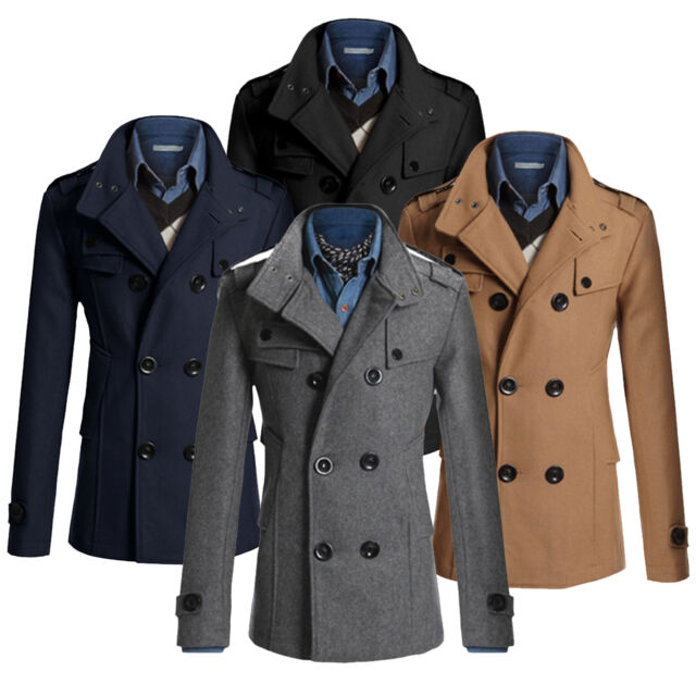 Fashion Men's Winter Wool Blend Warm Trench Coat Reefer Jackets Double Breasted