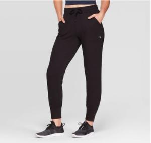 JoyLab-Women-039-s-Cozy-and-Plush-Black-Mid-Rise-Zipper-Ankle-Jogger-Pants-New