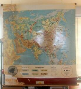 Vintage-Cram-039-s-Asia-Pull-Down-Map