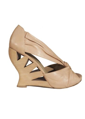 Donald J Pliner Nude Leather Knot Detail Open Toe
