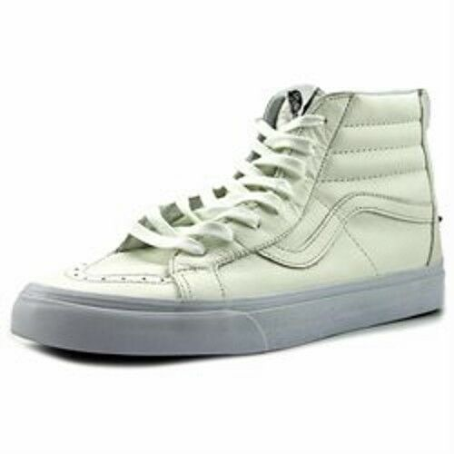 VANS Sk8 Hi Reissue Zip Premium Leather True White Men's Skate Shoes Size 9