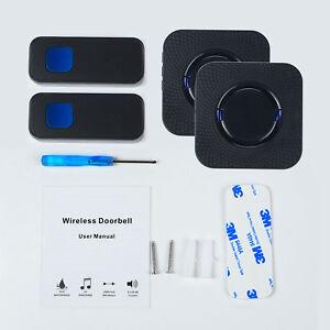 Kabellose-Wasserdichte-Funkklingel-Tuerklingel-Wireless-Doorbell-55-Melodie-Black