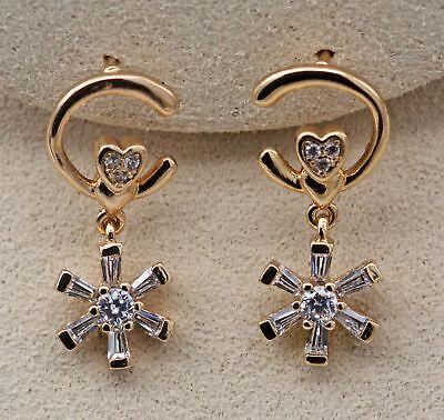 """18K Gold Filled Zircon /""""C/"""" /""""*/""""Windmill Flower Heart Pageant Lady Stud Earrings"""