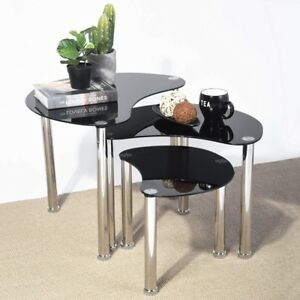 Modern Coffee Table Black Furniture Living Room Contemporary Glass ...