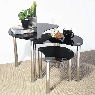 Modern Coffee Table Black Furniture Living Room Contemporary Glass Nesting  Set 3 769613894719 | eBay