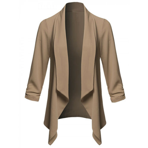 Womens Solid Open Front  Cardigan  Long Sleeve Blazer Casual Jacket Coat