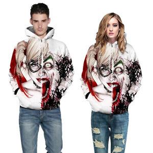 3D Print MenWomen Hoodie Sweater Sweatshirt Joker Halloween Jacket Pullover Tops