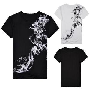 Men-Summer-Casual-Slim-Printed-Short-Sleeve-Sport-Blouse-T-shirt-Pullover-Top-AU