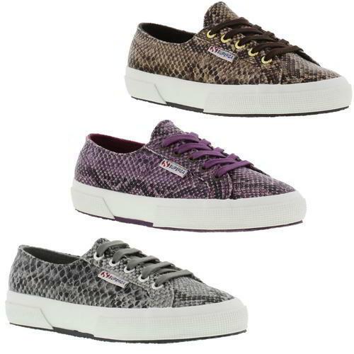 Superga 2750 Cotu Snake Print Brown Purple Womens Ladies Trainers Size UK 4-8