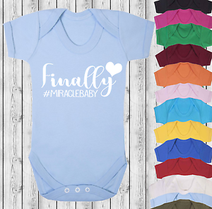 Finally #Miraclebaby Baby Vest Babygrow Bodysuit Baby Shower IVF Baby Miracle