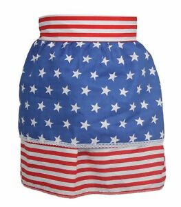 Ladies-Red-amp-White-Stripe-Pinafore-With-Blue-Star-Apron-USA-Fancy-Dress-O-S