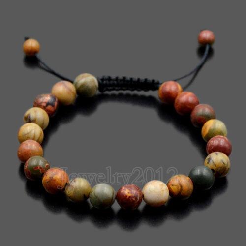 Men Women 8mm Natural Gemstones Macrame Loose Beads Bracelet Adjust Handmade