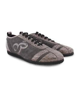 99fc0cd621 Details about Billionaire Couture Men's Grey Suede & Crocodile Leather  Sneakers, Size 40