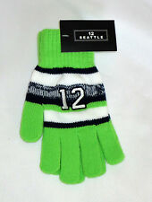 Green Striped Stretchy Gloves 12 Embroidered Seattle Blue White Seahawks Sports